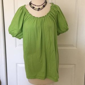 Sz XL Kim Rogers cotton scoop neck puff sleeve T